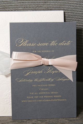 grey-save-the-date-with-gold-script-print-and-blush-ribbon