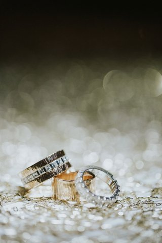 wedding-rings-custom-diamonds-hammered-gold-one-piece-of-metal-cut-into-two-rings