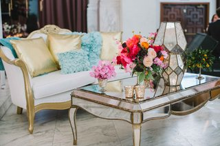 lounge-area-wedding-reception-bold-floral-arrangement-mirrors