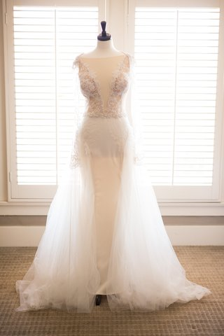 sheath-gown-overskirt-plunging-neckline-galia-lahav-designer-wedding-revealing-slits-sleeves