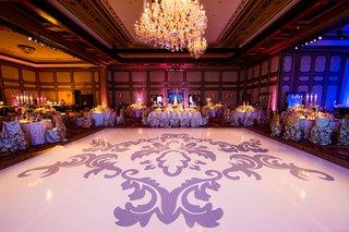 wedding-reception-decal-on-large-white-dance-floor-lavender-baby-blue-details