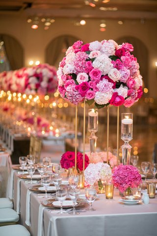wedding-reception-gold-stand-pink-hydrangea-rose-peony-flowers-floating-candles-rectangle-table