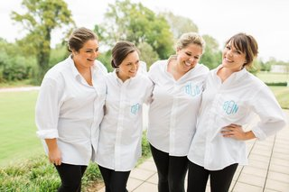 bridesmaid-gift-white-button-up-shirts-with-blue-monogram-for-getting-ready