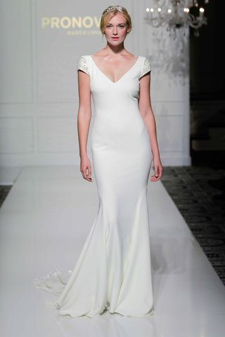 pronovias-2016-v-neck-crepe-wedding-dress-with-short-jewel-cap-sleeves