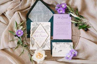 wedding-invitation-suite-forest-green-envelopes-lavender-insert-silver-flowers