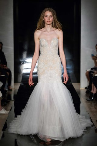 reem-acra-spring-2017-strapless-wedding-dress-with-drop-waist-and-tulle-skirt-and-train