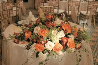 couples-table-with-orange-roses-and-greenery