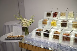 wedding reception dessert ideas ice cream sundae bar ice sculpture topping holder fruit candy and more