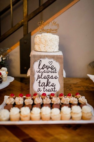 custom-dessert-table-sign-cupcakes-cake-topper-gold-small-calligraphy-wood-portland-wedding