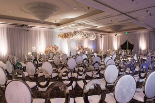 wedding-ceremony-pink-grey-silver-ivory-flowers-oval-chairs-mismatched-design-unique-contemporary