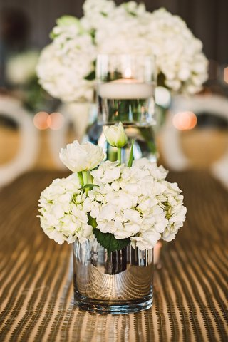 gold-sequin-stripe-linen-reflective-vase-with-white-hydrangea-and-flower-bouquet-candle-floating
