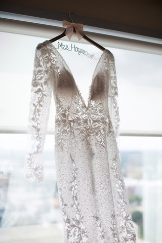 wedding dress custom hanger mrs brendan haywood designer wedding dress long sleeve