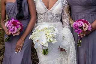 bridal-bouquet-with-phalaenopsis-orchids-and-calla-lilies-shades-of-purple-roses-bridesmaid-bouquet