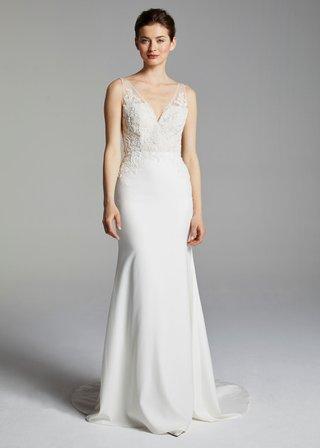 anne-barge-blue-willow-bride-spring-2019-wedding-dress-liz-v-neck-crepe-skirt-bridal-gown-lace-top