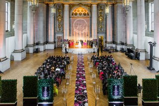 wedding ceremony andrew mellon auditorium flower print aisle runner the original runner company