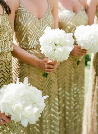 white-hydrangea-rose-flower-bouquet-for-bridesmaids-in-gold-sequin-sheath-gowns
