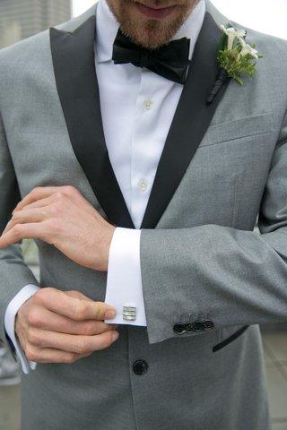 wedding-attire-hunter-pence-baseball-player-grey-tuxedo-black-lapel-silver-cuff-links-boutonniere