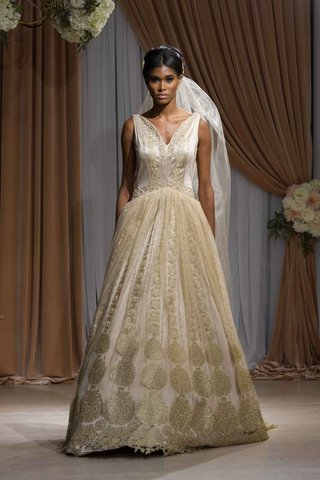 jean-ralph-thurin-fall-2016-gold-v-neck-wedding-dress-with-pattern-skirt
