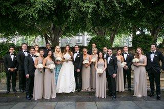 bride-in-oscar-de-la-renta-groom-in-tom-ford-tux-and-bridesmaids-in-amsale-tan-bridesmaid-dresses