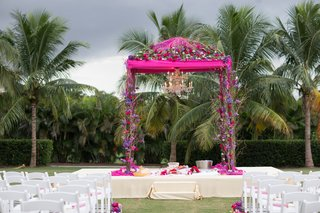 indian-wedding-magenta-mandap-with-florals-and-chandelier