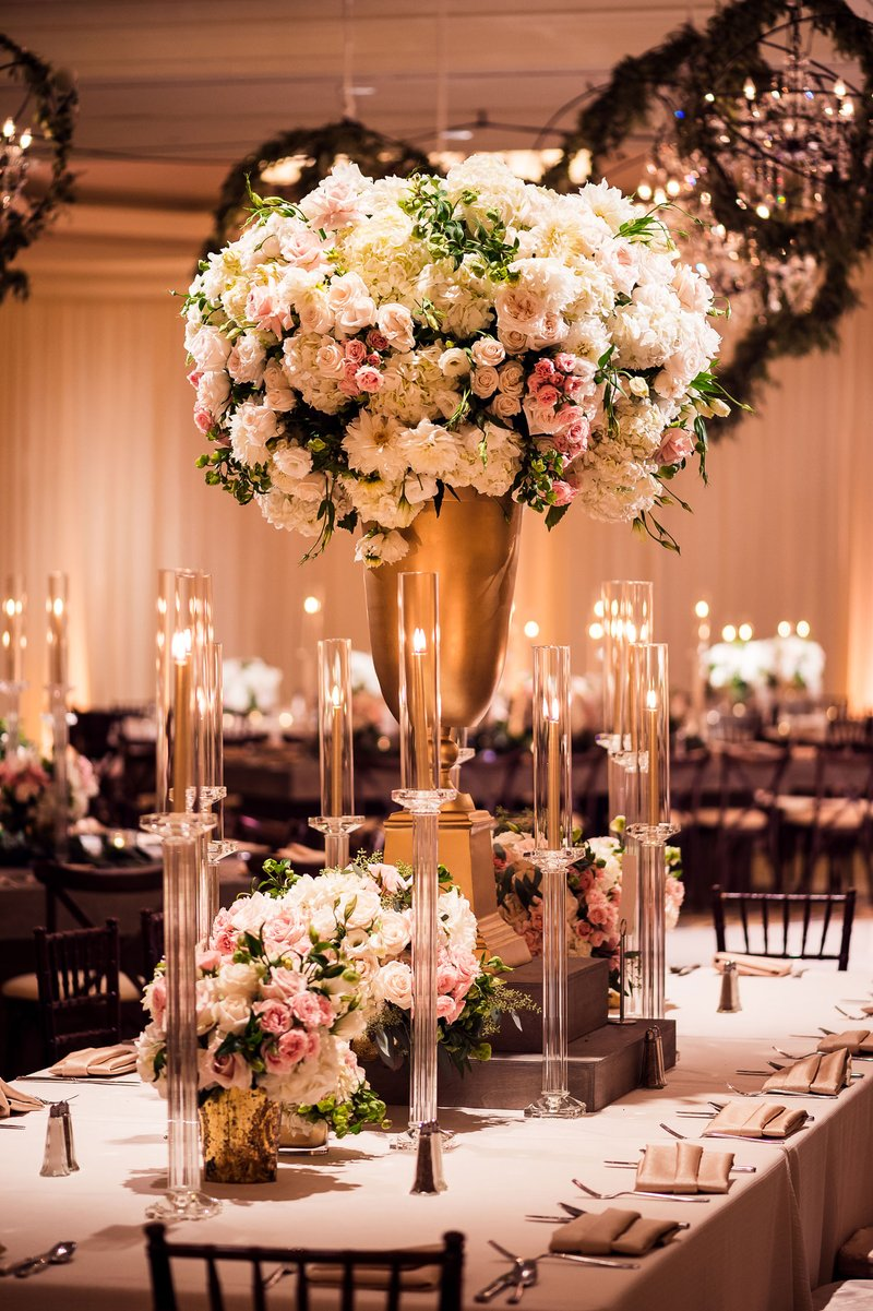 Taper Candles & Tall Centerpiece on Table