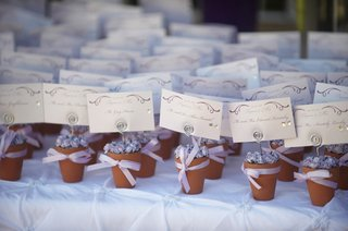 flower-pot-wedding-seating-card-and-purple-ribbon