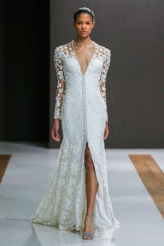 mark-zunino-spring-2018-wedding-dress-v-neck-front-slit-bridal-gown-embellishments-on-long-sleeves