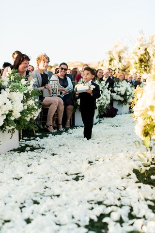 charlise-castro-and-george-springer-iii-wedding-ceremony-ring-bearer-white-flower-petals-on-grass
