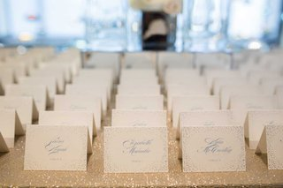 wedding-escort-cards-on-sparkly-linen-light-blue-confetti-motif-light-blue-calligraphy