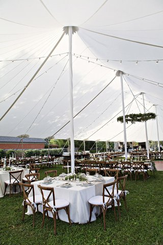 farm-wedding-reception-on-grassy-area-with-white-open-sided-tent-rustic-chairs-white-tablecloths