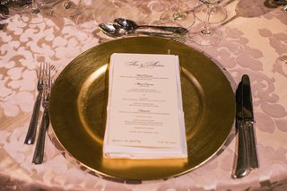 gold-wedding-charger-plate-on-satin-damask-linens