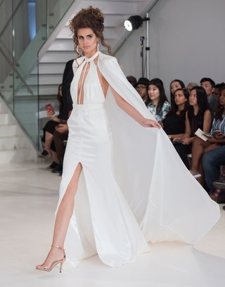 julie-vino-2018-havana-bridal-collection-wedding-dress-high-neck-high-slit-gown-with-cape-plunging