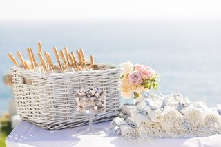 outdoor-wedding-ceremony-preparations-with-parasols-and-pashminas-for-guests