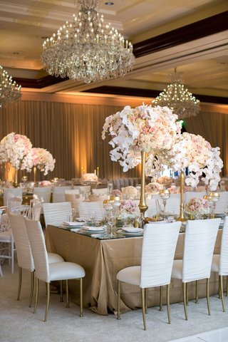 white-covers-on-chiavari-chairs-gold-stands-and-floral-arrangements-orchids-blush-roses-chandeliers