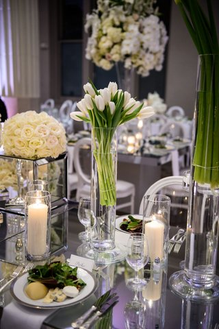 wedding-reception-table-salad-course-dinner-candles-white-tulips-in-vase-white-rose-flowers