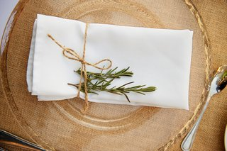 burlap-table-runner-with-gold-charger-and-rosemary