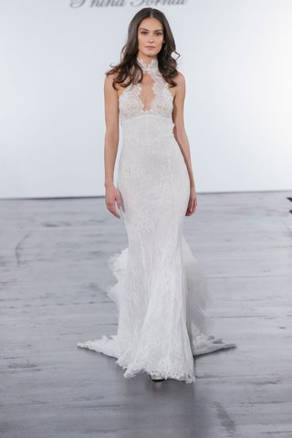 pnina-tornai-for-kleinfeld-2018-wedding-dress-high-neck-chantilly-lace-gown-mermaid-sit-flare-ruffle