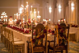 bride-and-grooms-chairs-foliage-renaissance-theme-art-still-life-reception-jewish-wooden-head-table