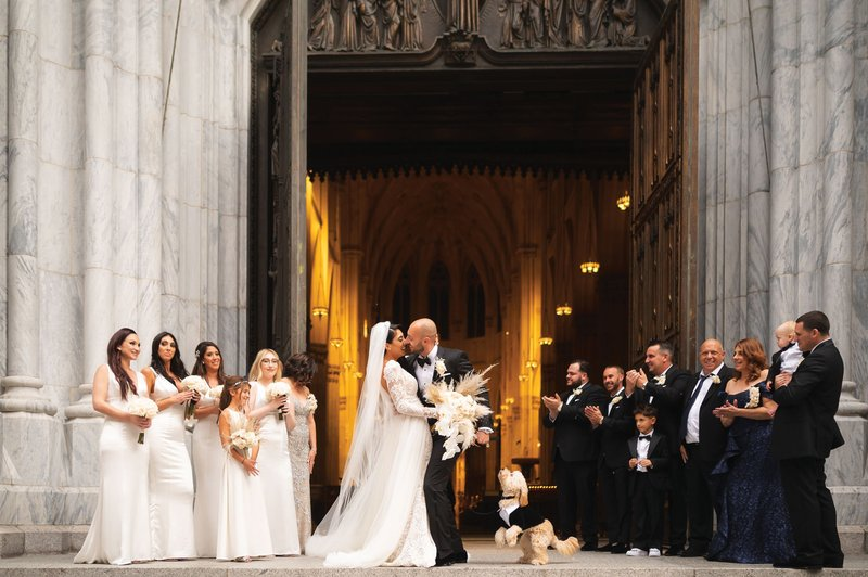 Wedding Party & Dog Outside of Church Ceremony