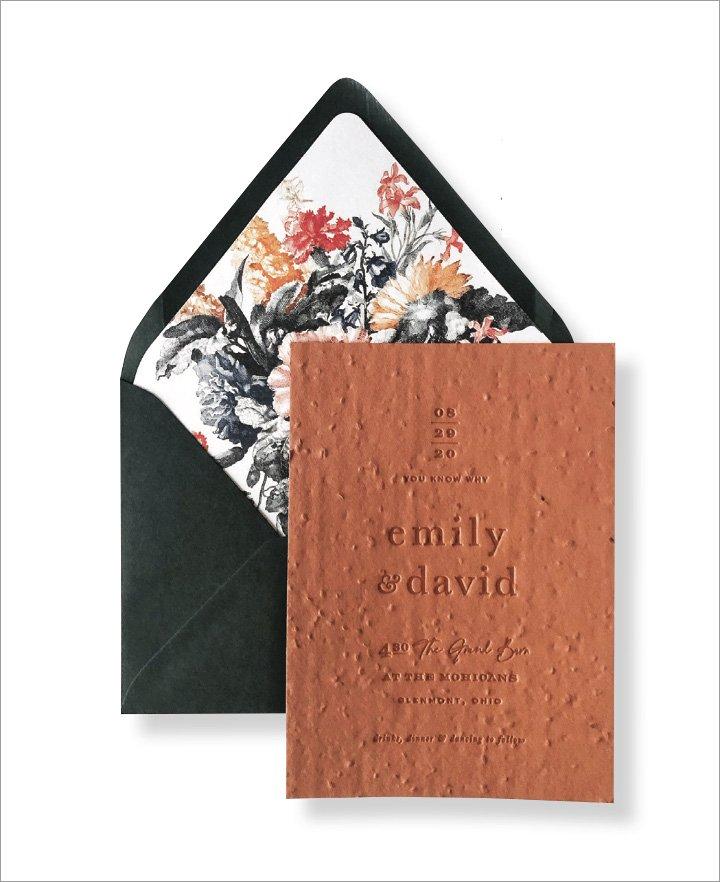 Fall Wedding Invitation by Lumaca Paper