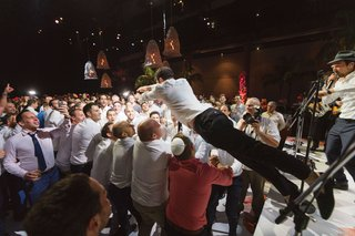 wedding reception live band entertainment crowd surfing at reception in australia