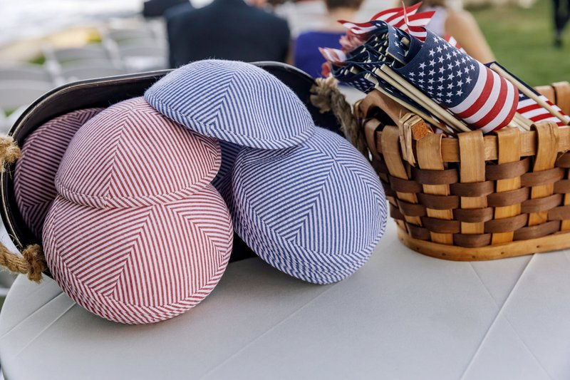 Red, White & Blue Yarmulkes with Flags