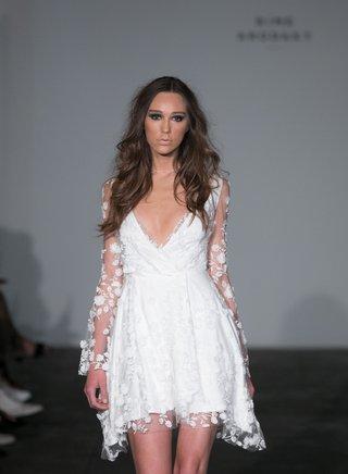 rime-arodaky-2018-bridal-collection-wedding-dress-mini-dress-v-neck-sheer-long-sleeves-flowers