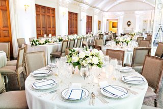 wedding-reception-ballroom-white-tablecloth-lavender-white-flower-centerpiece-garden-rose-greenery