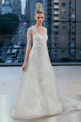 hudson-ines-di-santo-fall-2018-a-line-wedding-dress-with-beading-three-quarter-illusion-sleeves