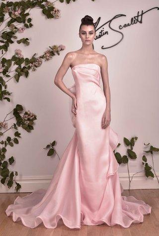 austin-scarlett-fall-2016-pink-strapless-wedding-dress-with-ruffles