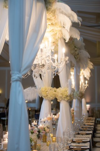 head-table-structure-chandelier-feathers-north-carolina-wedding-crystals-blue-glam-inspiration