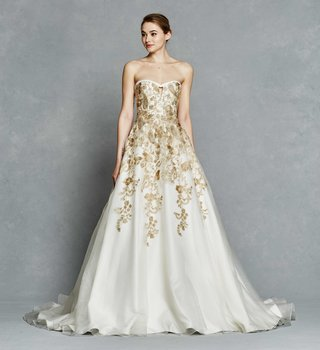 kelly-faetanini-spring-2017-leona-strapless-wedding-dress-ball-gown-with-gold-embroidery