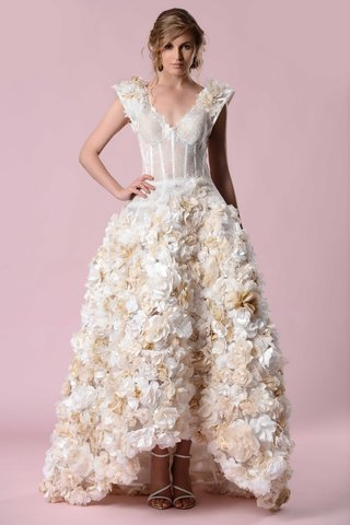 gemy-maalouf-2016-v-neck-wedding-dress-with-gold-and-white-flower-skirt-and-high-low-hem
