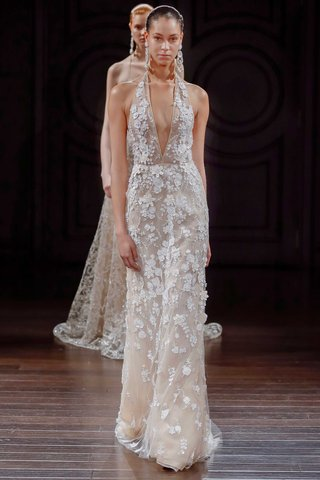 naeem-khan-bridal-spring-2017-st-lucia-halter-wedding-dress-plunging-neckline-flower-embroidery
